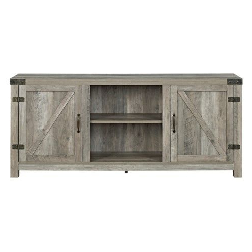 """Walker Edison Barn Door Tv Stand With Side Doors   Jet For Jaxpety 58"""" Farmhouse Sliding Barn Door Tv Stands In Rustic Gray (View 11 of 20)"""