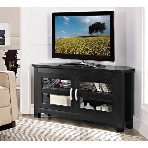 """Walker Edison Black Corner Tv Stand For Tvs Up To 48 In Corner Tv Stands For Tvs Up To 43"""" Black (View 15 of 20)"""