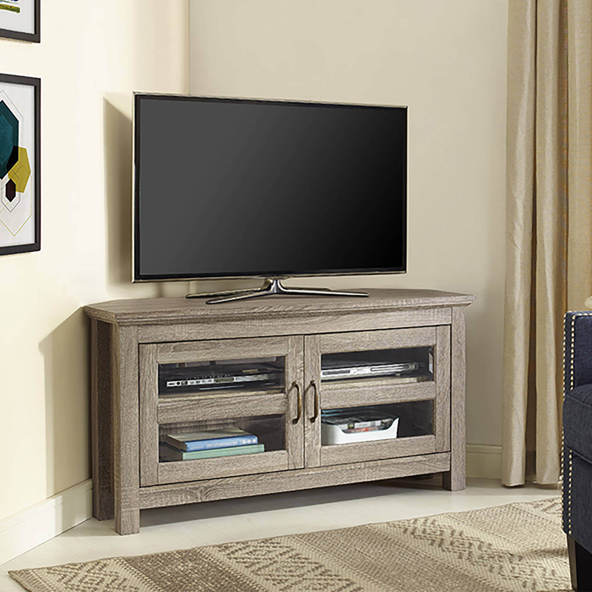 Walker Edison Black Corner Tv Stand For Tvs Up To 48 Intended For Contemporary Black Tv Stands Corner Glass Shelf (View 12 of 20)
