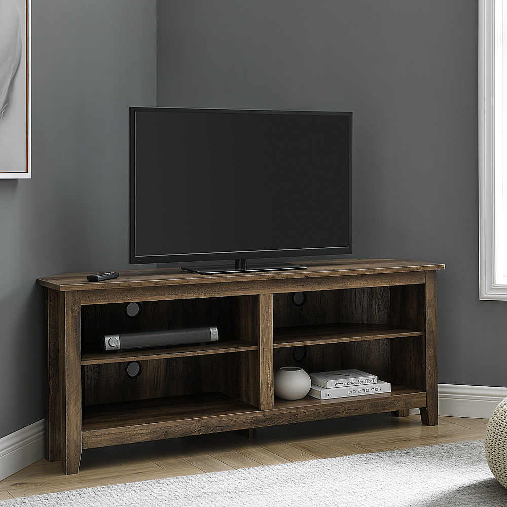 """Walker Edison Corner Open Shelf Tv Stand For Most Flat Intended For Kasen Tv Stands For Tvs Up To 60"""" (View 3 of 20)"""