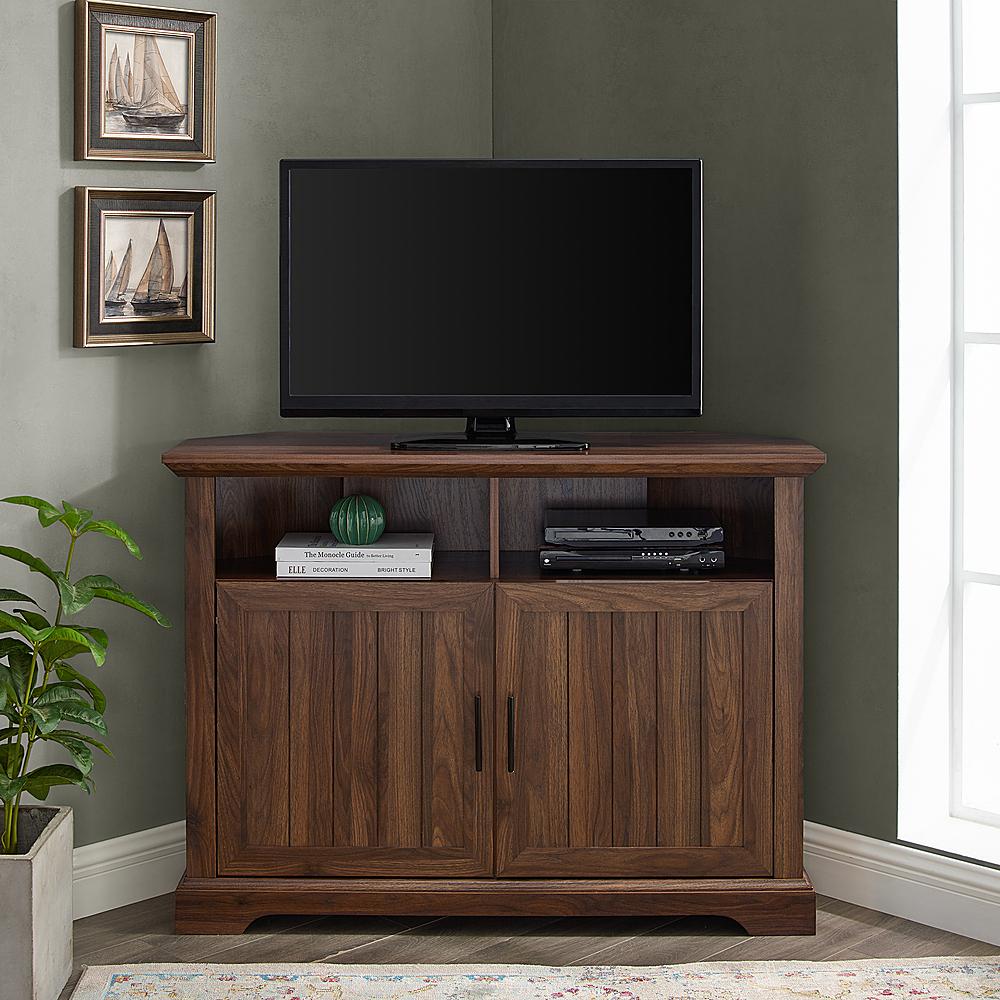 """Walker Edison Corner Tv Stand For Most Tvs Up To 50"""" Dark In Grooved Door Corner Tv Stands (View 6 of 20)"""