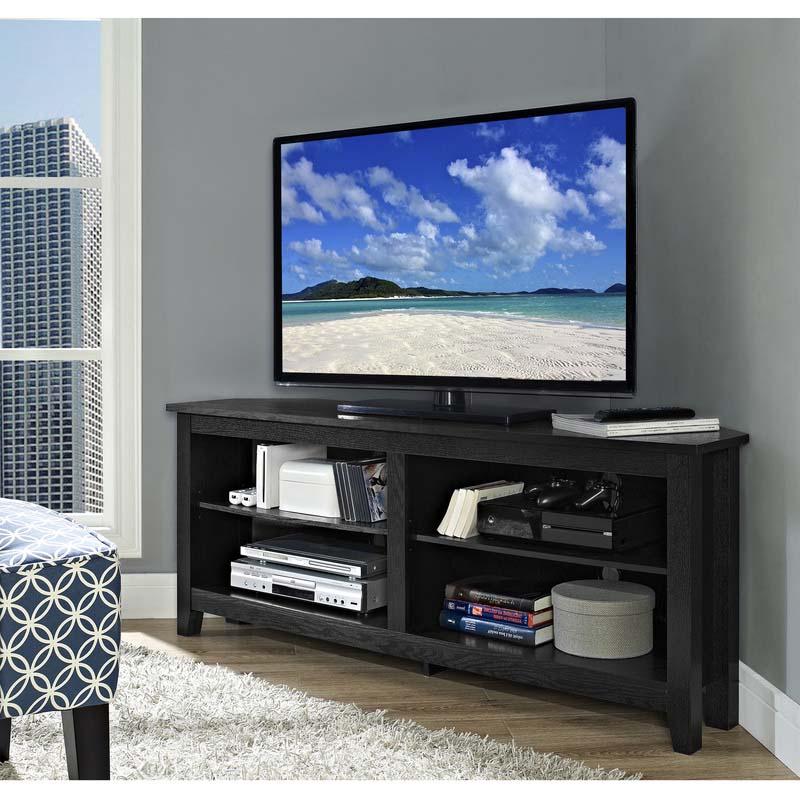 Walker Edison Essentials 60 Inch Corner Tv Stand Matte Within Edgeware Black Tv Stands (View 2 of 20)