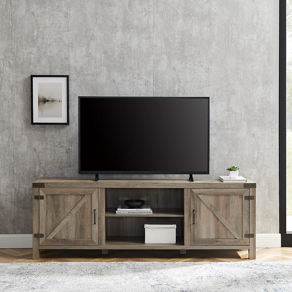 Walker Edison Farmhouse Barn Door Tv Stand For Most Tvs Up Inside Farmhouse Sliding Barn Door Tv Stands For 70 Inch Flat Screen (View 10 of 20)
