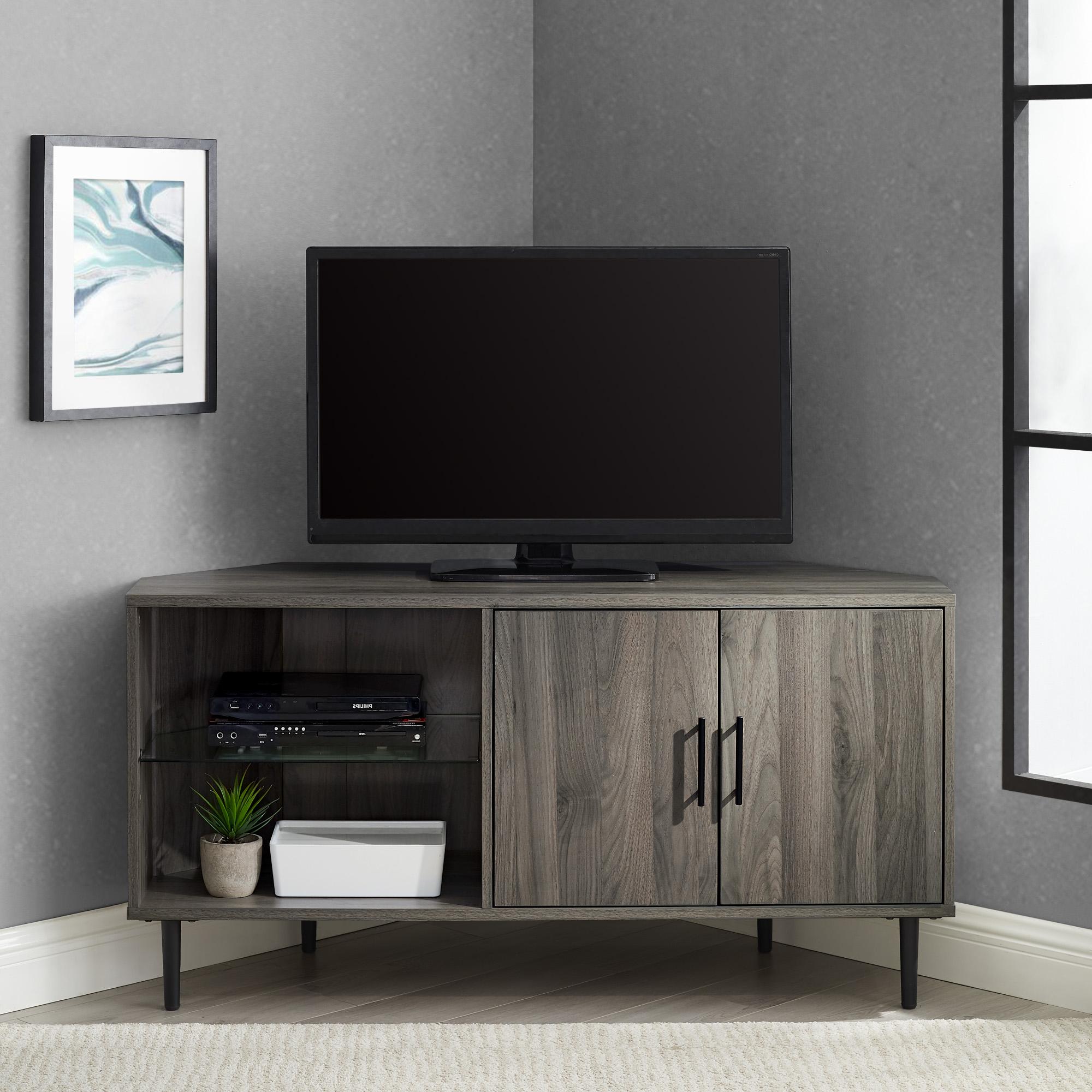 """Walker Edison Furniture Company 48"""" 2 Door Glass Shelf With Regard To Basie 2 Door Corner Tv Stands For Tvs Up To 55"""" (View 9 of 20)"""