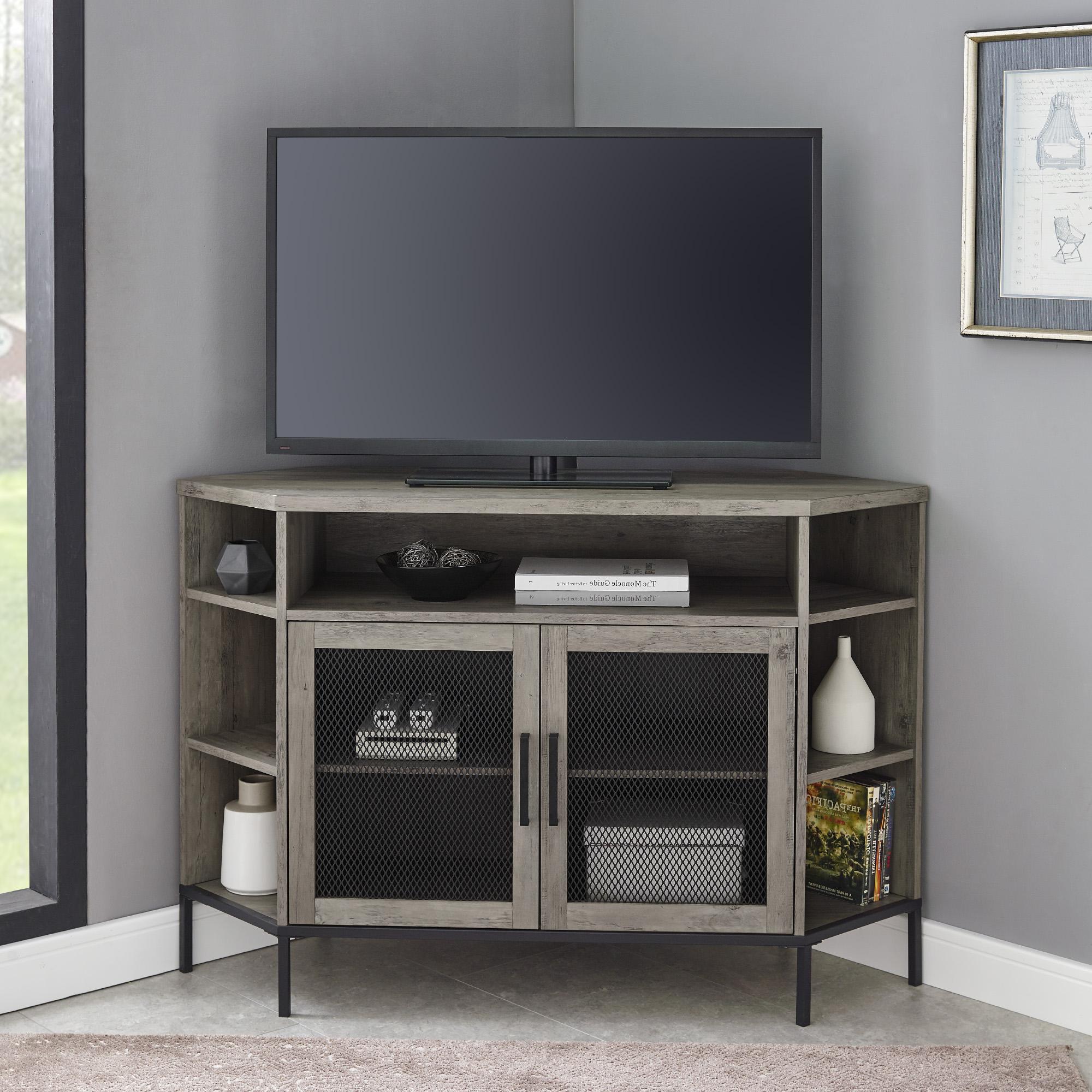 """Walker Edison Furniture Company 48"""" Industrial Mesh Door With Grooved Door Corner Tv Stands (View 9 of 20)"""