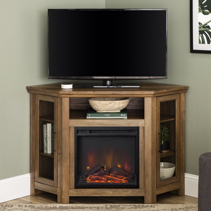 """Walker Edison Grey Corner Fireplace Tv Stand For Tvs Up To For Lansing Tv Stands For Tvs Up To 55"""" (View 5 of 20)"""