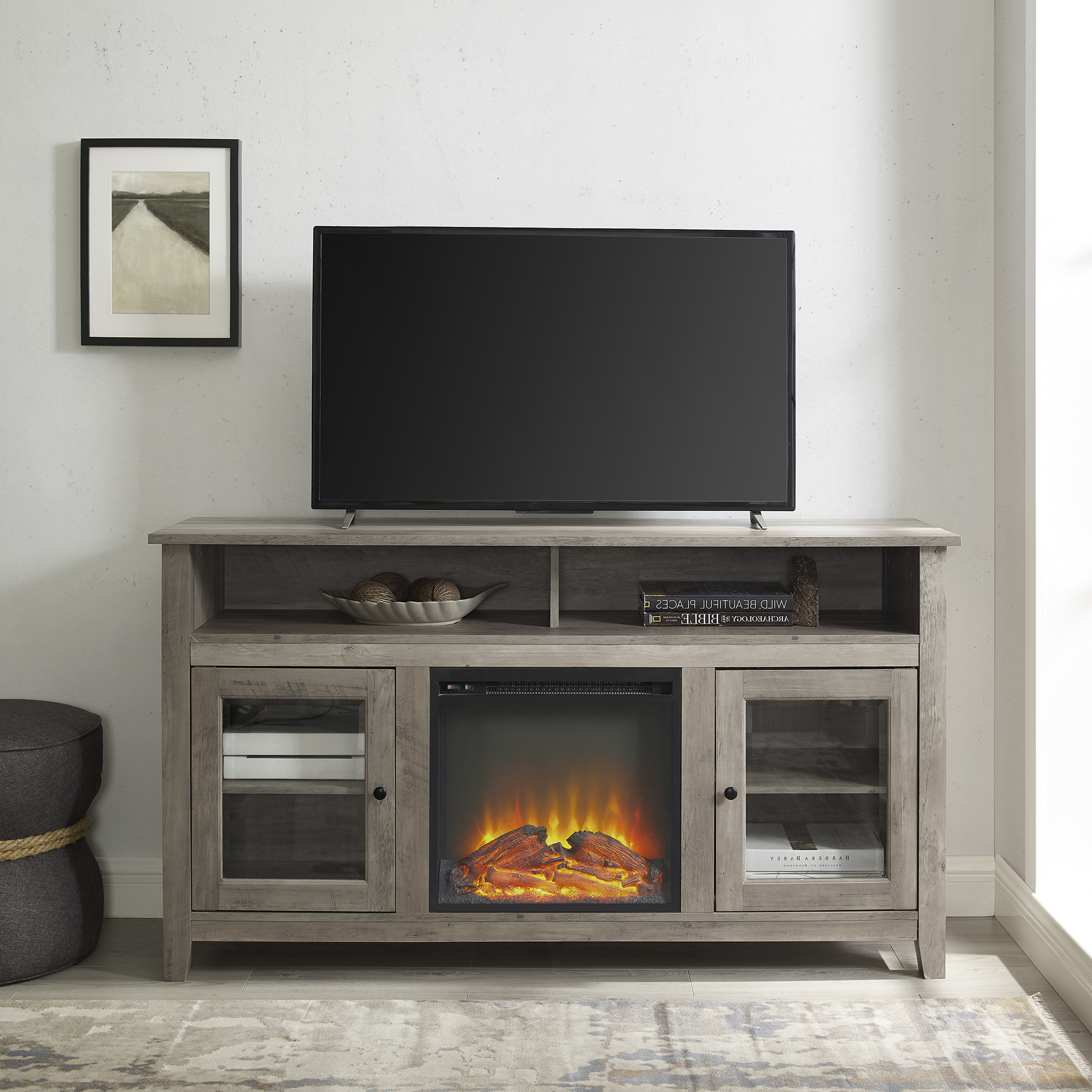 Walker Edison Grey Wash Tall Fireplace Tv Stand For Tvs Up Within Delphi Grey Tv Stands (View 4 of 20)