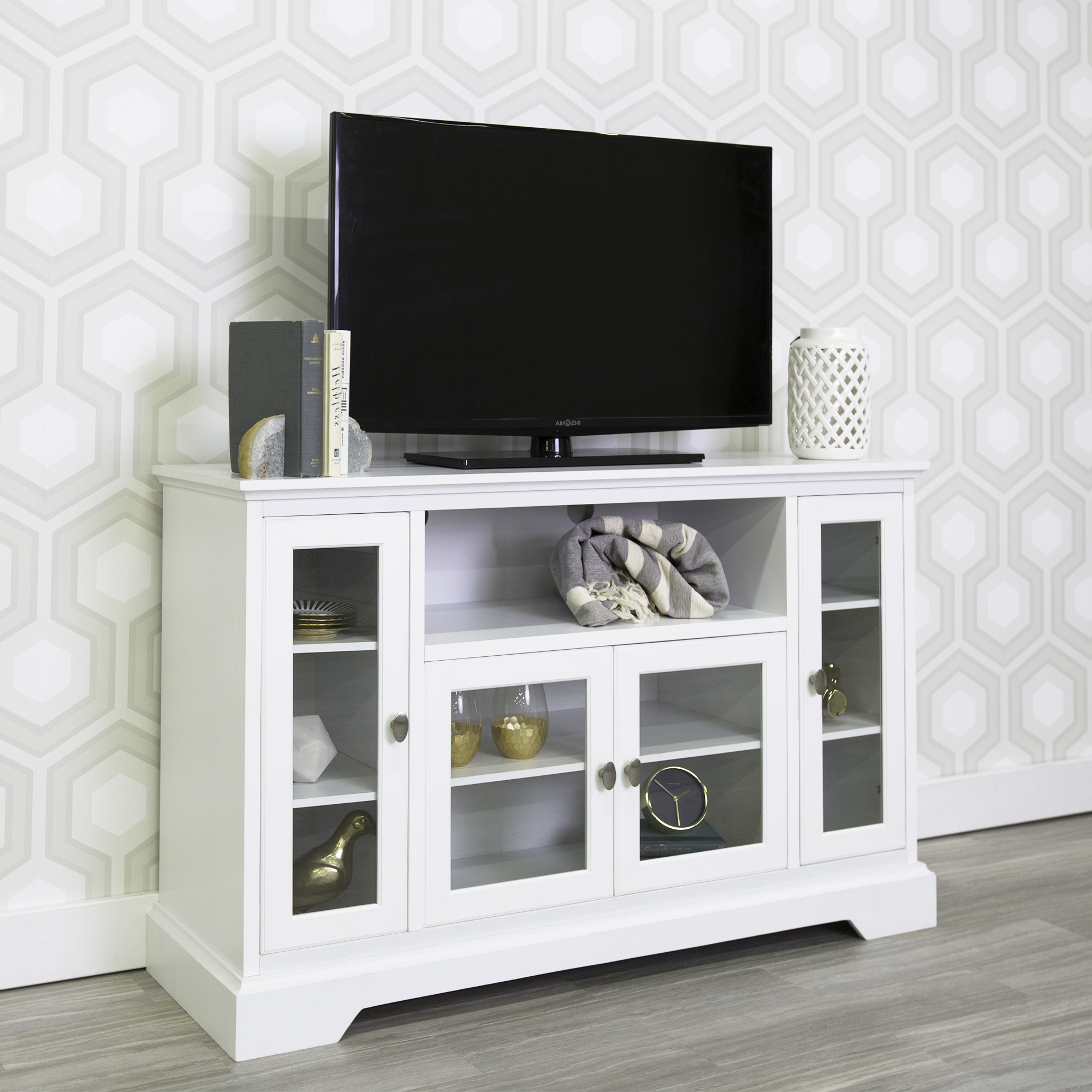 """Walker Edison Highboy Style Wood Media Storage Tv Stand Intended For Millen Tv Stands For Tvs Up To 60"""" (View 5 of 20)"""