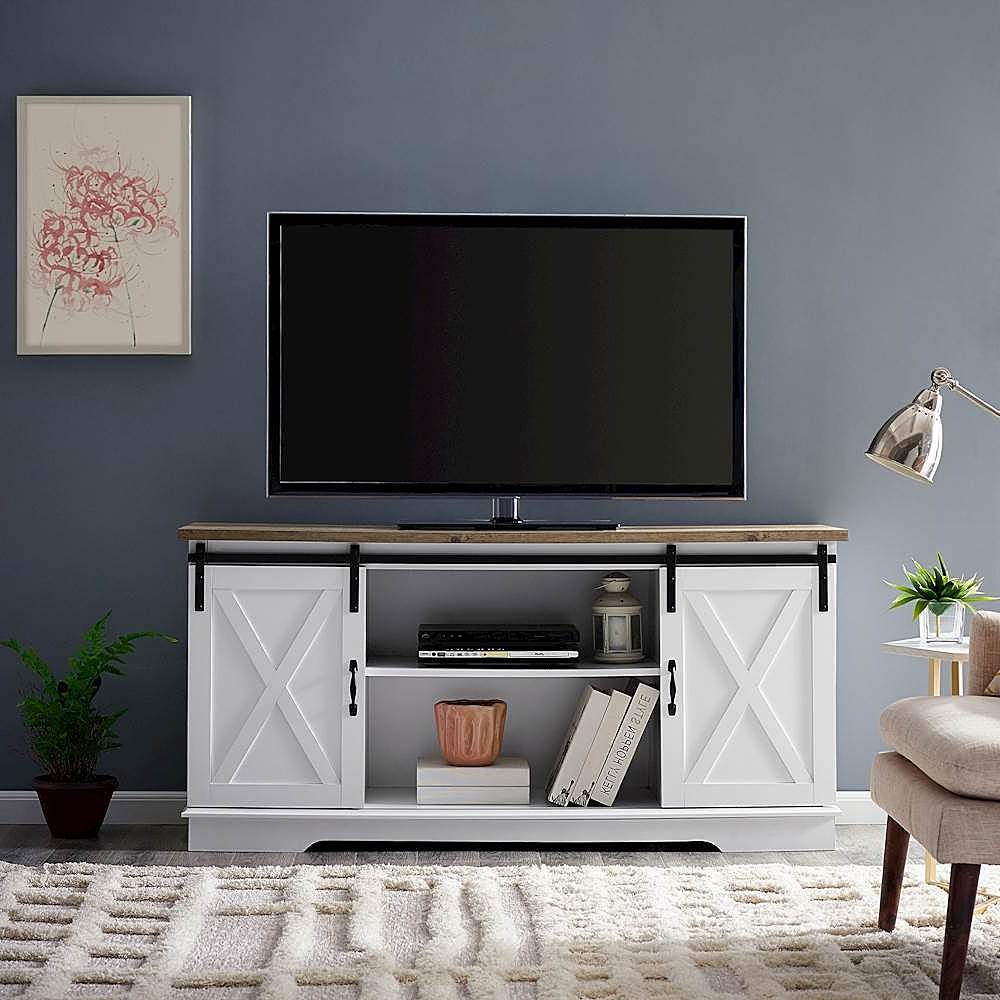 Walker Edison Industrial Farmhouse Sliding Door Tv Stand Pertaining To Farmhouse Sliding Barn Door Tv Stands For 70 Inch Flat Screen (View 1 of 20)