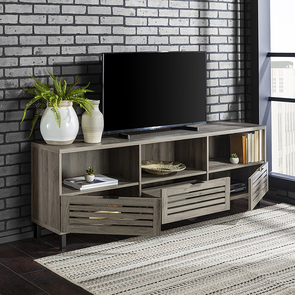 Walker Edison Jackson Tv Stand Cabinet For Most Flat Panel Throughout Corona Grey Flat Screen Tv Unit Stands (View 12 of 20)