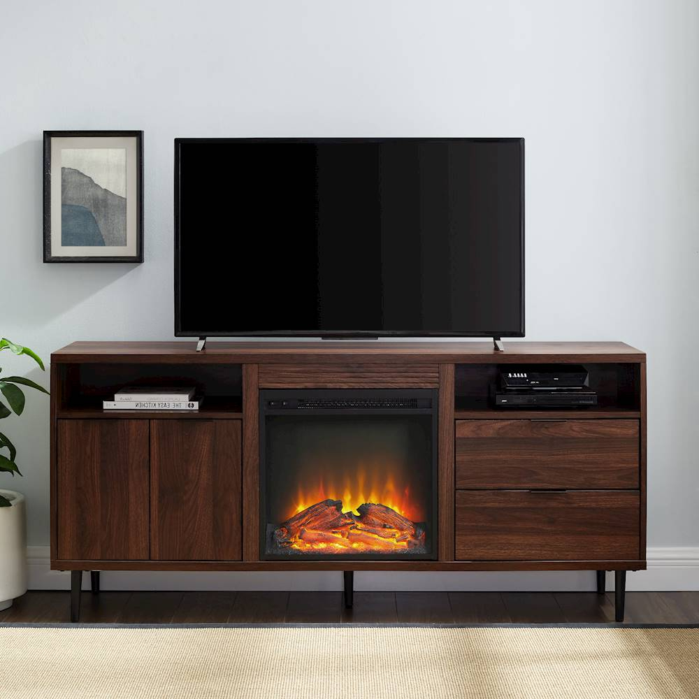 Walker Edison Mid Century Modern Fireplace Tv Stand For With Regard To Walker Edison Contemporary Tall Tv Stands (View 11 of 20)