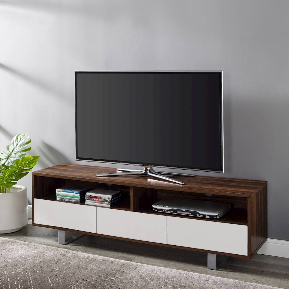 Walker Edison – Modern 3 Drawer Tv Stand For Most Flat Throughout Walker Edison Contemporary Tall Tv Stands (View 14 of 20)