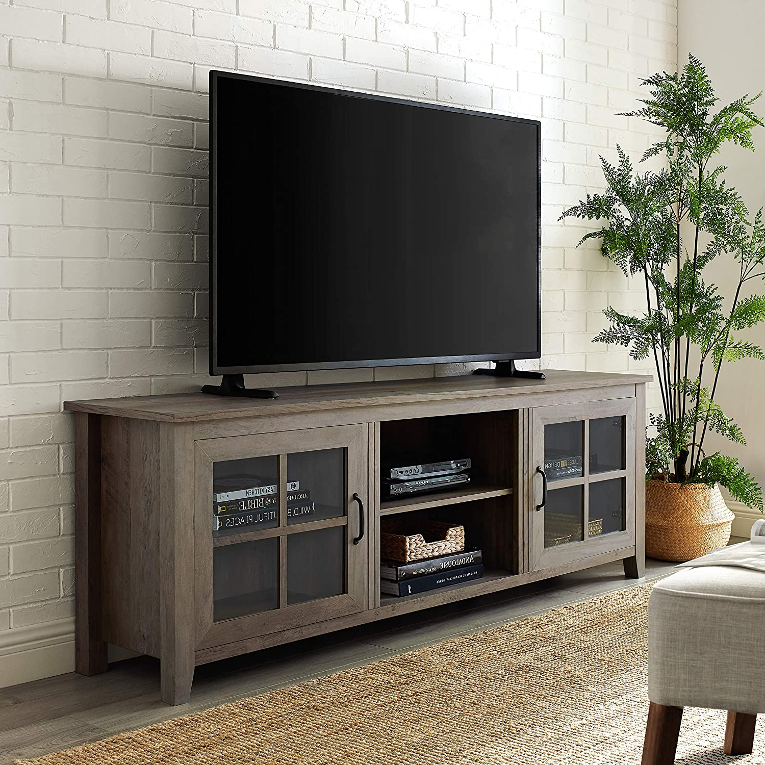 """Walker Edison Modern Farmhouse Glass And Wood Stand With With Regard To Glass Tv Stands For Tvs Up To 70"""" (View 9 of 20)"""