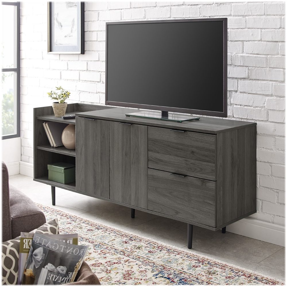 Walker Edison Modern Tv Stand Cabinet For Most Flat Panel Within Corona Grey Flat Screen Tv Unit Stands (View 6 of 20)