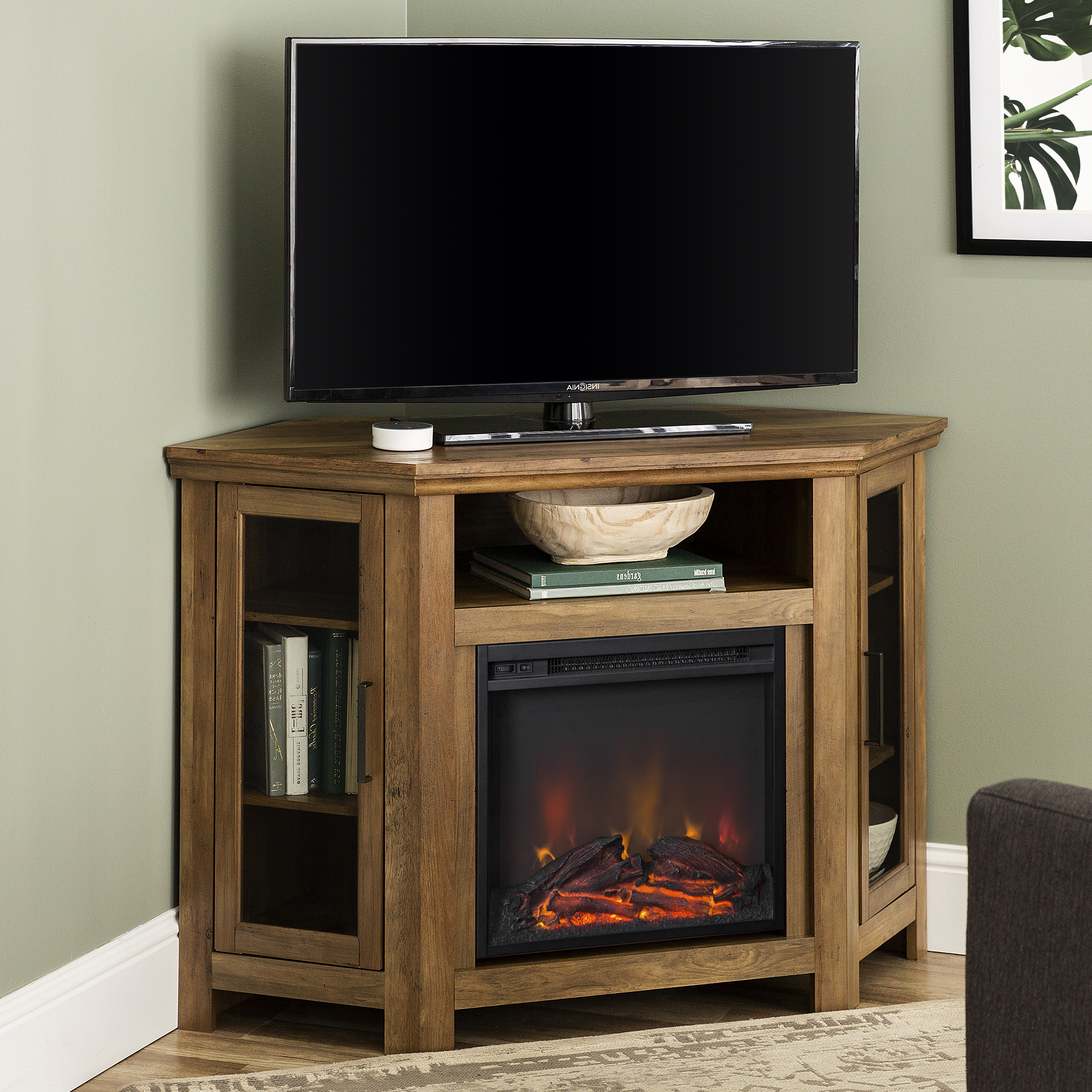 """Walker Edison Reclaimed Barnwood Corner Fireplace Tv Stand Within Camden Corner Tv Stands For Tvs Up To 60"""" (View 12 of 20)"""