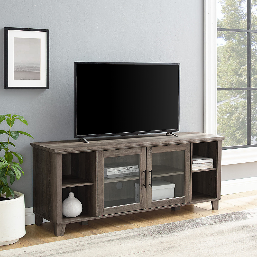 Walker Edison Rustic Farmhouse Columbus Tv Stand Cabinet Within Corona Grey Flat Screen Tv Unit Stands (View 7 of 20)
