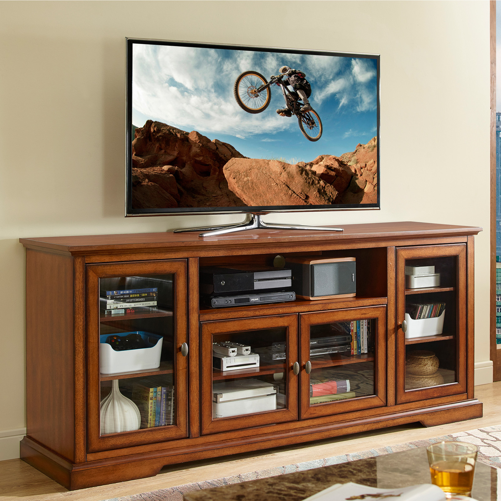 Walker Edison Style Wood Tv Stand – Tv Stands At Hayneedle With Regard To Walker Edison Contemporary Tall Tv Stands (View 6 of 20)