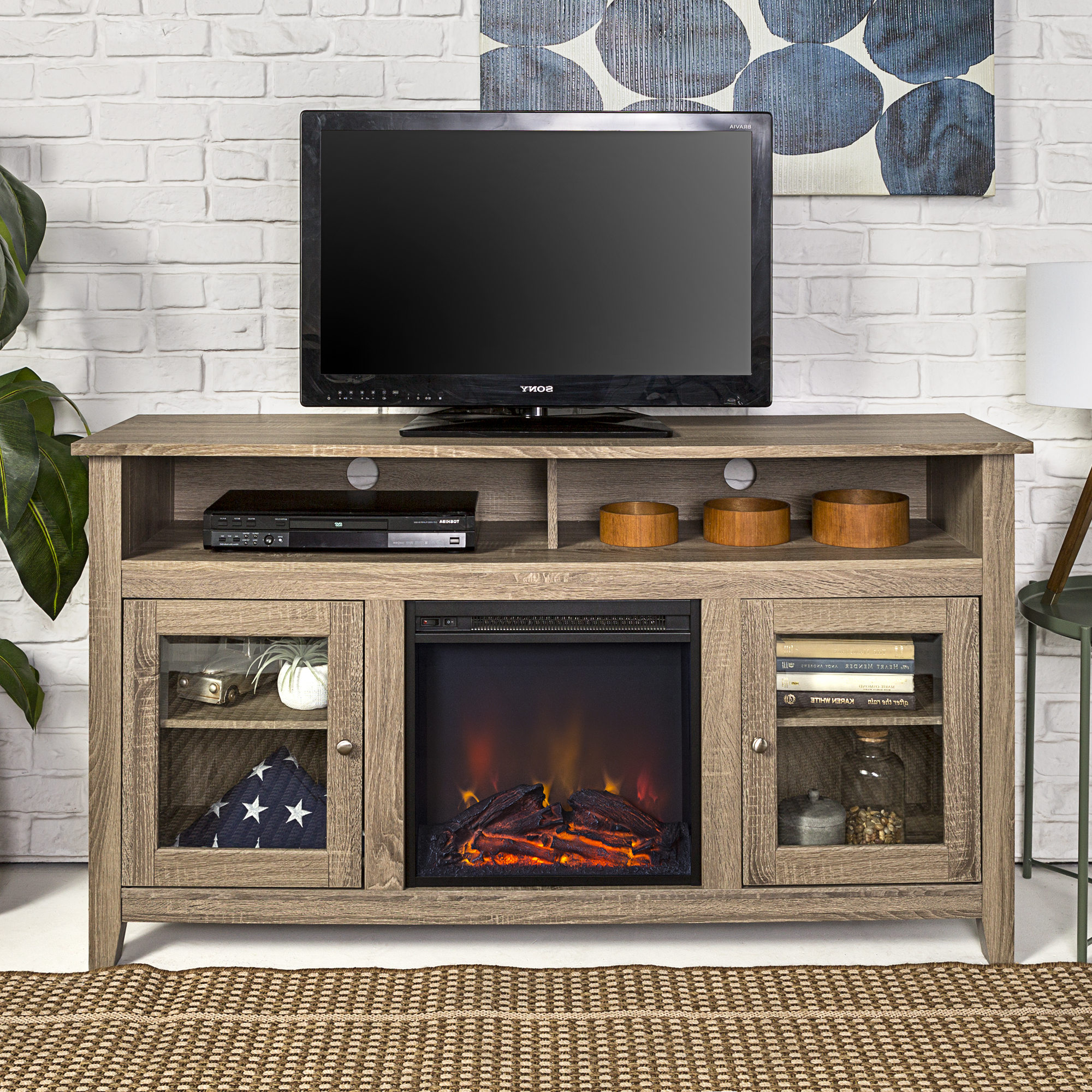 Walker Edison Tall Fireplace Tv Stand For Tvs Up To 64 Inside Walker Edison Contemporary Tall Tv Stands (View 15 of 20)