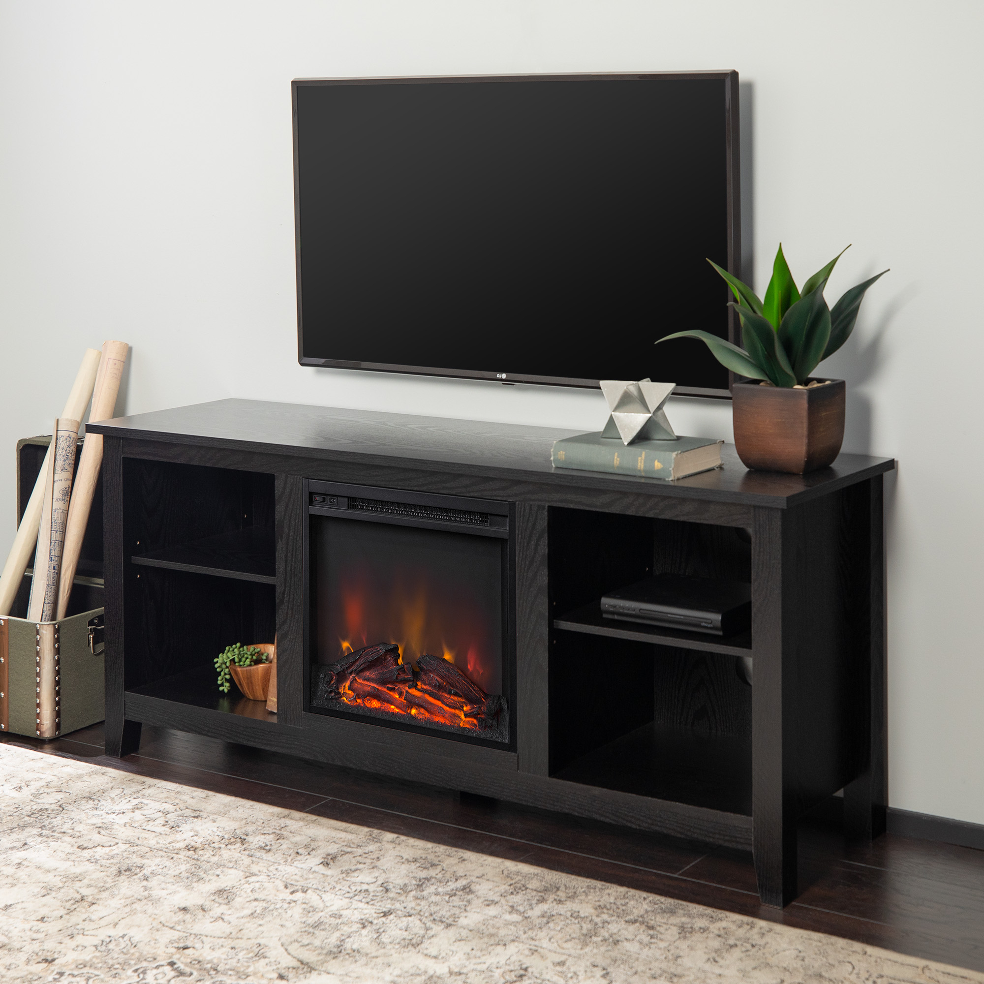"""Walker Edison Traditional Fireplace Tv Stand For Tvs Up To Throughout Leonid Tv Stands For Tvs Up To 50"""" (View 12 of 20)"""