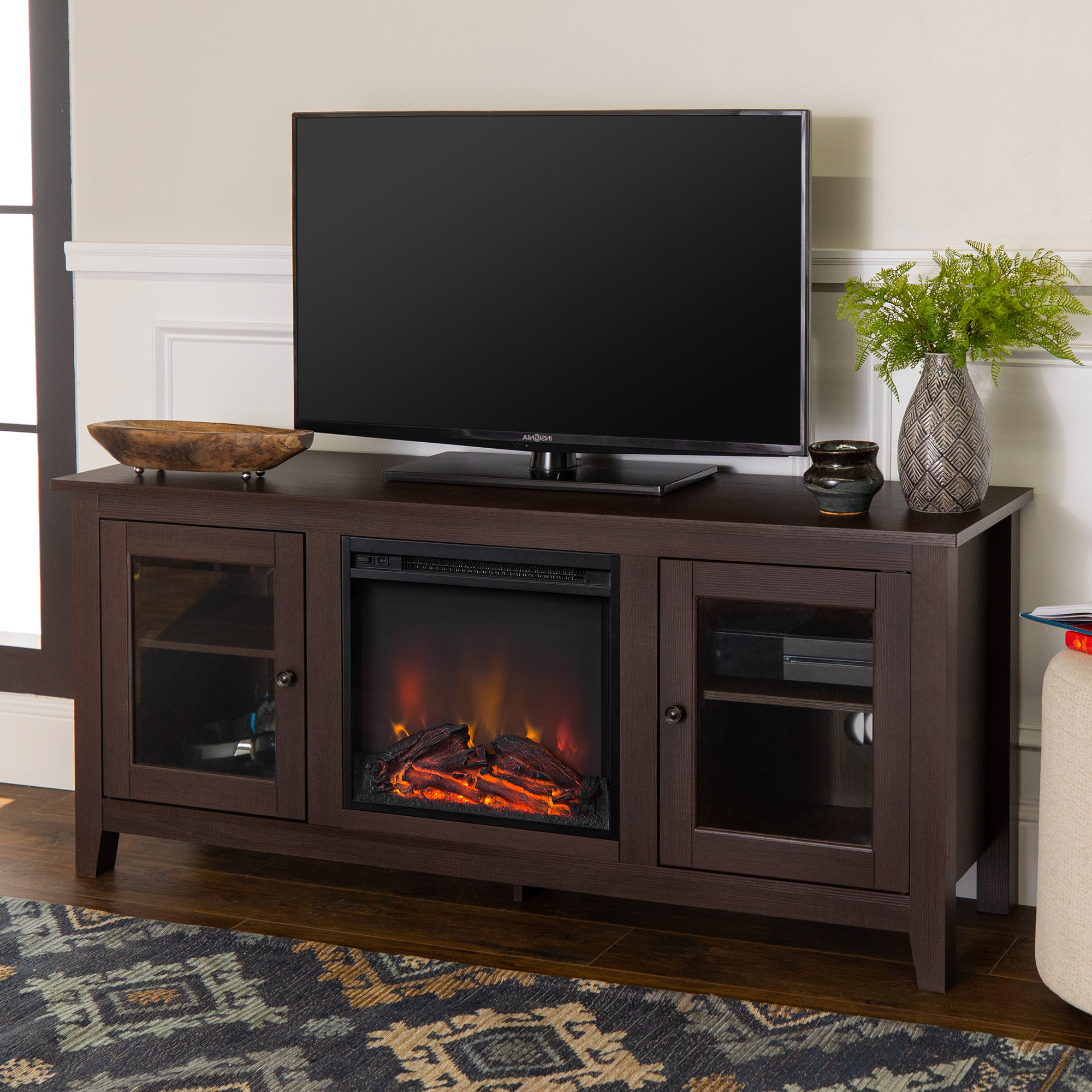 """Walker Edison Traditional Fireplace Tv Stand With Glass For Glass Shelves Tv Stands For Tvs Up To 65"""" (View 17 of 20)"""