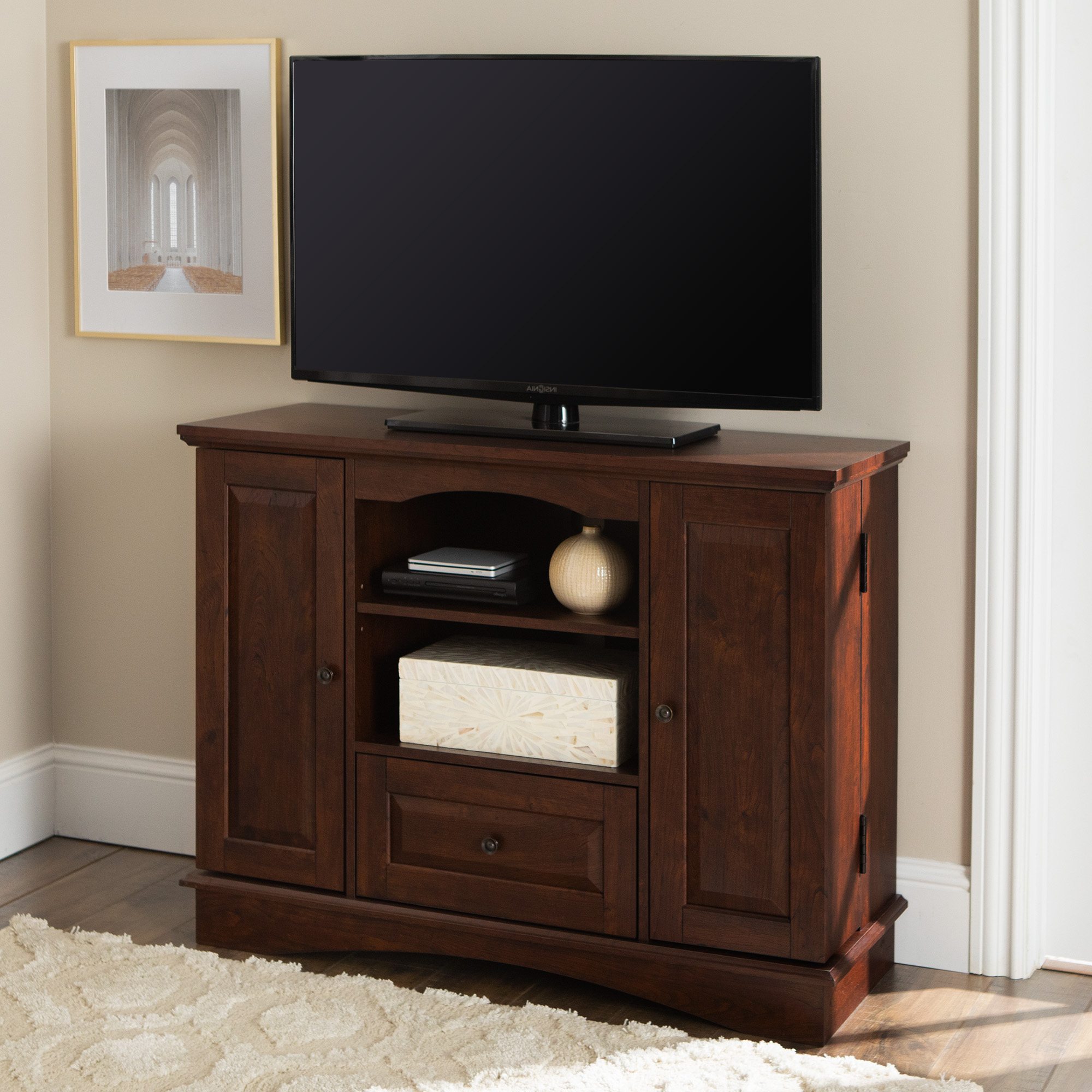 """Walker Edison Traditional Tall Tv Stand For Tvs Up To 48 Regarding Lionel Corner Tv Stands For Tvs Up To 48"""" (View 6 of 20)"""