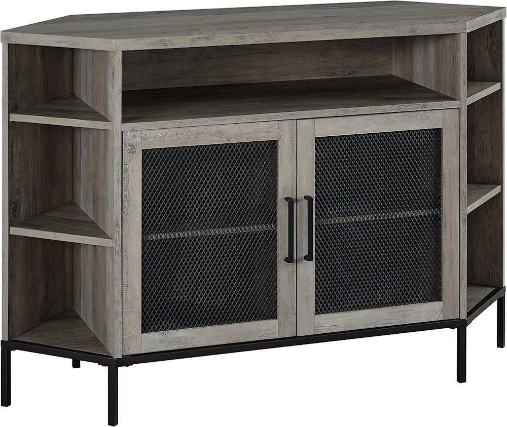 """Walker Edison Tv Cabinet For Most Tvs Up To 52"""" Gray Wash Within 60"""" Corner Tv Stands Washed Oak (View 17 of 20)"""