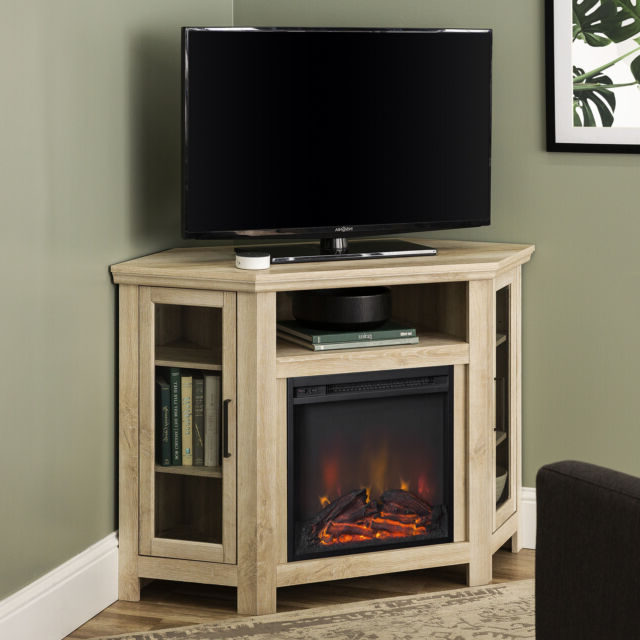 """Walker Edison White Oak Corner Fireplace Tv Stand For Tvs With Wood Corner Storage Console Tv Stands For Tvs Up To 55"""" White (View 5 of 20)"""