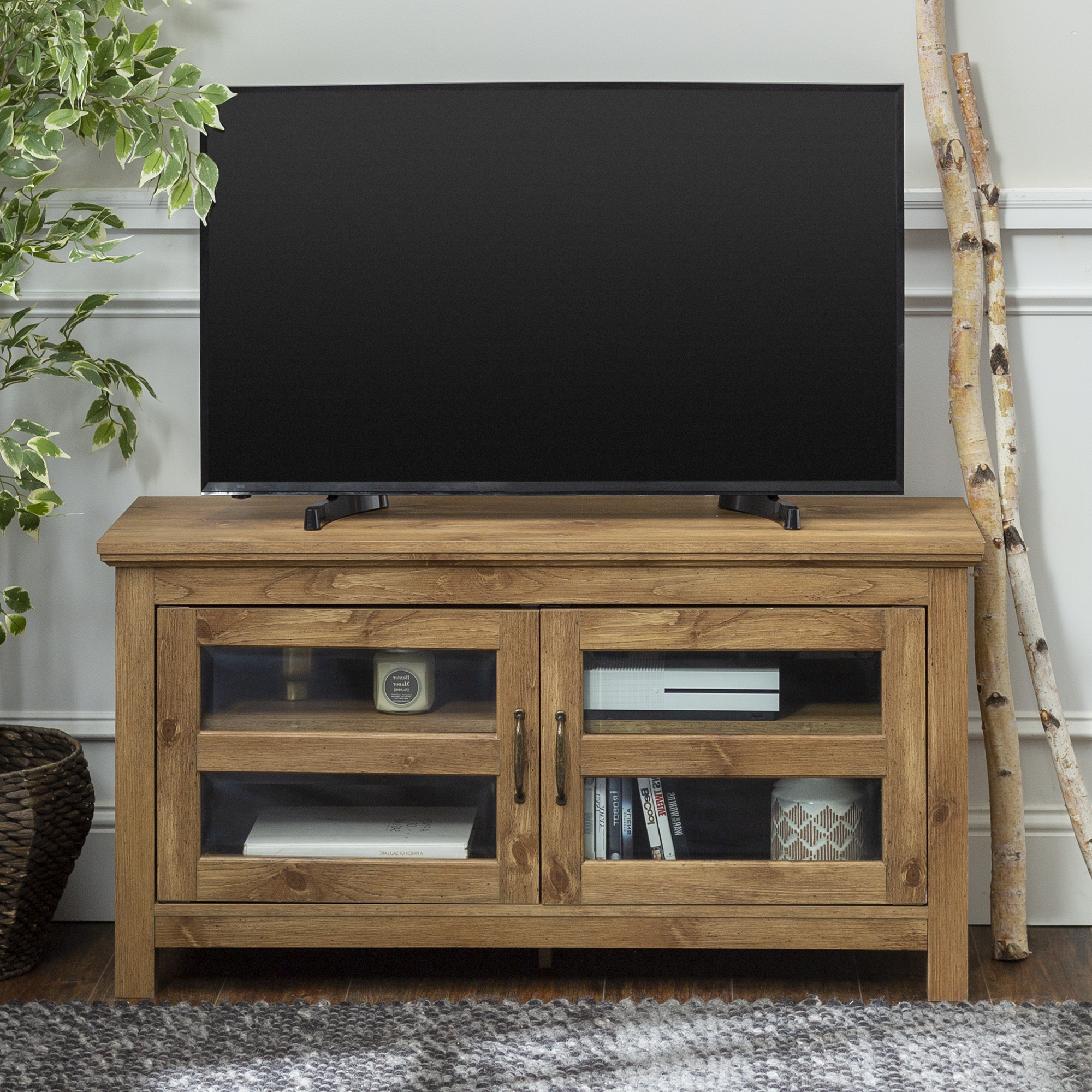 """Walker Edison Wood Tv Stand For Tvs Up To 48"""" – Barnwood Inside Tv Mount And Tv Stands For Tvs Up To 65"""" (View 13 of 20)"""