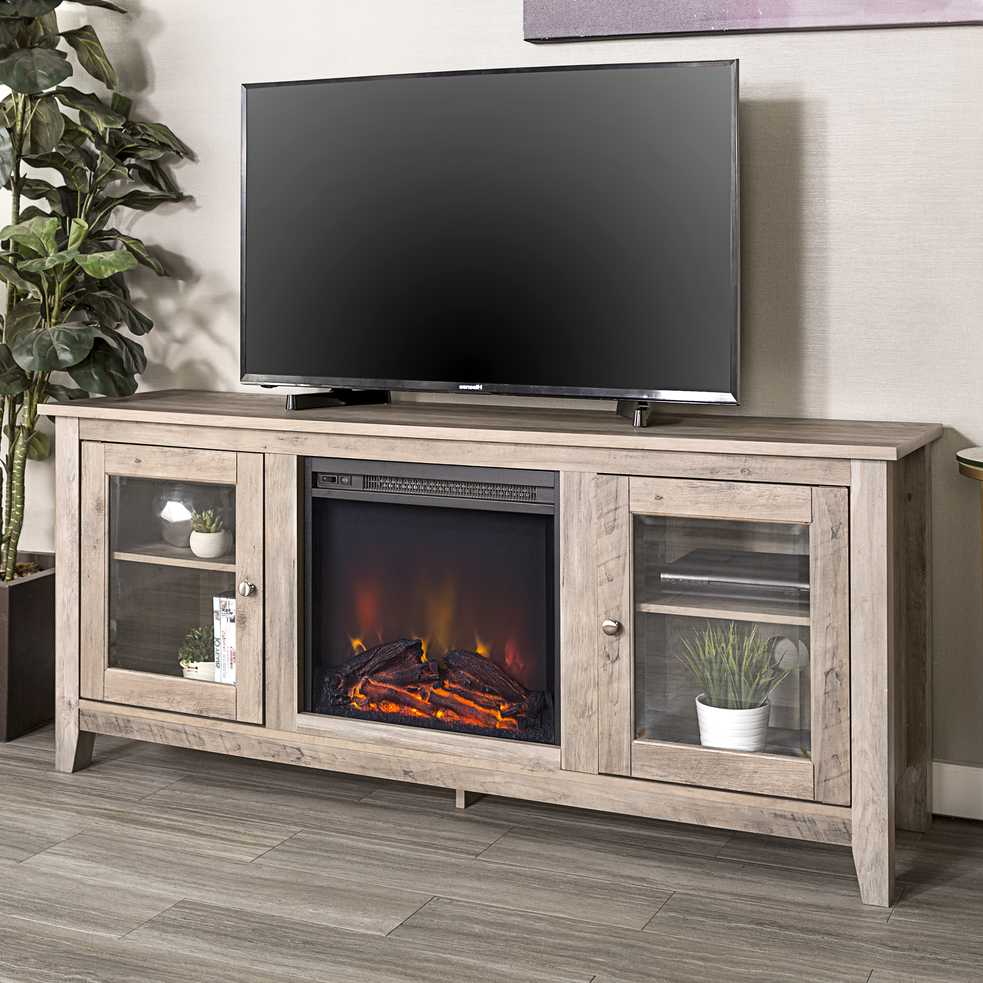"""Walkeredison Furniture 58"""" Wood Media Tv Stand Console Throughout Delphi Grey Tv Stands (View 8 of 20)"""