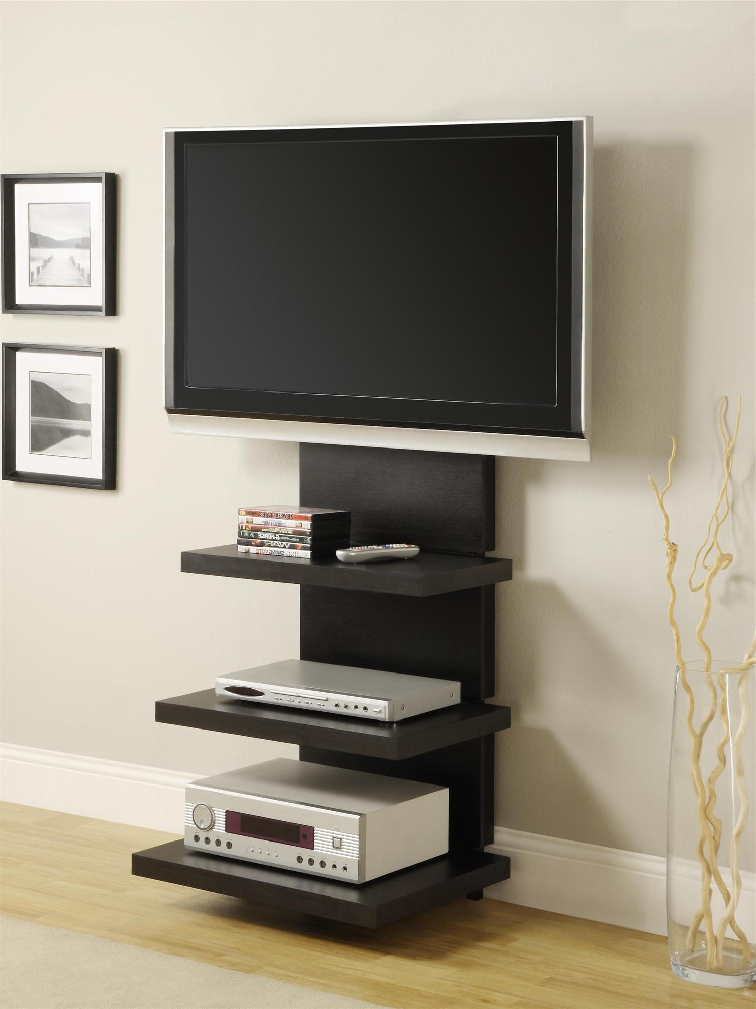 Wall Mount Tv Stand With 3 Shelves, Black, For Tvs Up To With Regard To Dillon Black Tv Unit Stands (View 1 of 20)