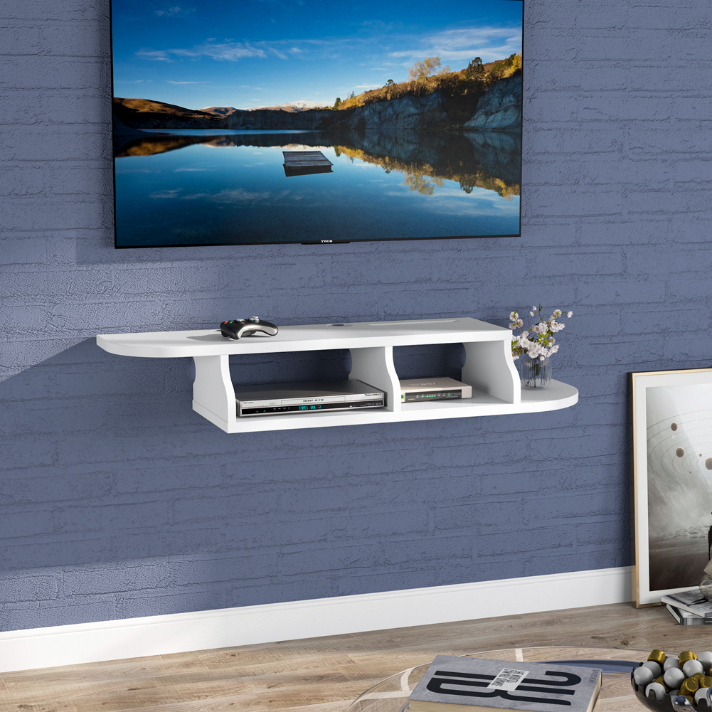 Wall Mounted Media Console, Modern Floating Tv Stand Shelf Throughout Horizontal Or Vertical Storage Shelf Tv Stands (View 9 of 20)