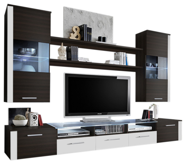 Wall Unit Modern Entertainment Center With Led Lights With 57'' Tv Stands With Led Lights Modern Entertainment Center (View 3 of 20)