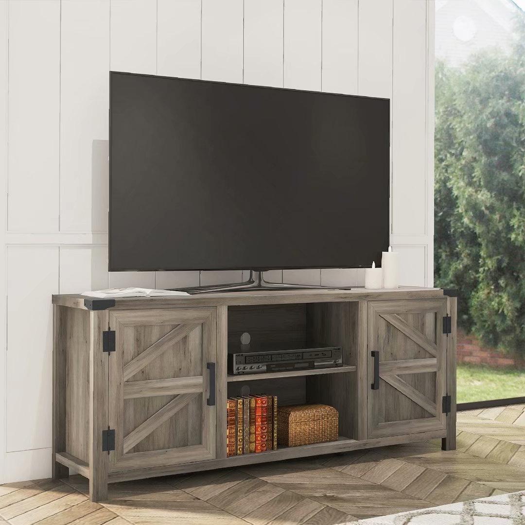 Wampat Farmhouse Barn Door Wood Tv Stands For 65'' Flat Regarding Corona Grey Flat Screen Tv Unit Stands (View 2 of 20)