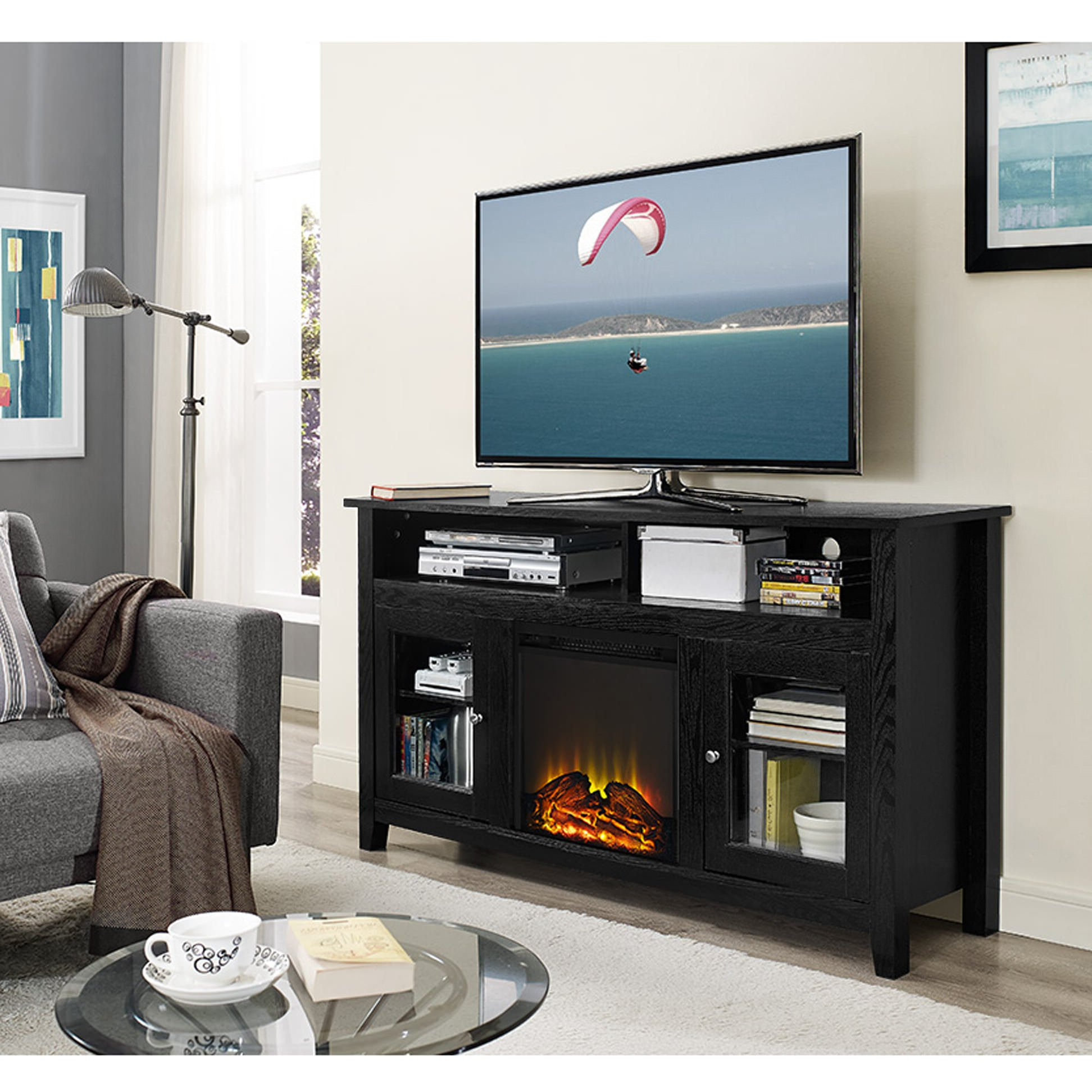 Wasatch 58 Inch Highboy Fireplace Tv Stand – Black With Modern Black Floor Glass Tv Stands For Tvs Up To 70 Inch (View 14 of 20)