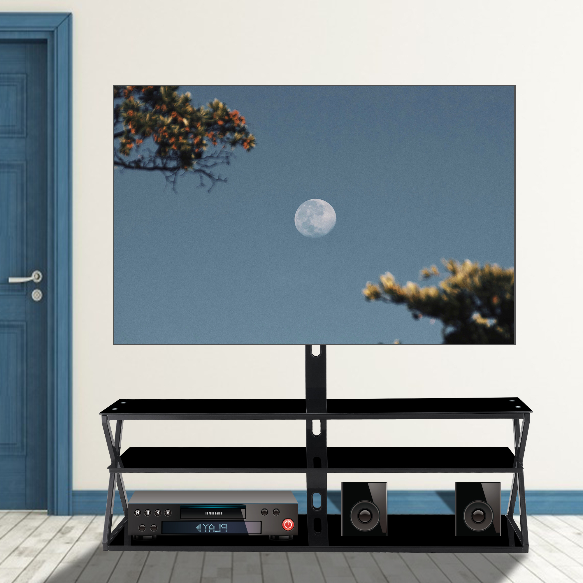 """Watnature Black Tv Stand With Mount For Tvs Up To 65 Intended For Whalen Furniture Black Tv Stands For 65"""" Flat Panel Tvs With Tempered Glass Shelves (View 14 of 20)"""