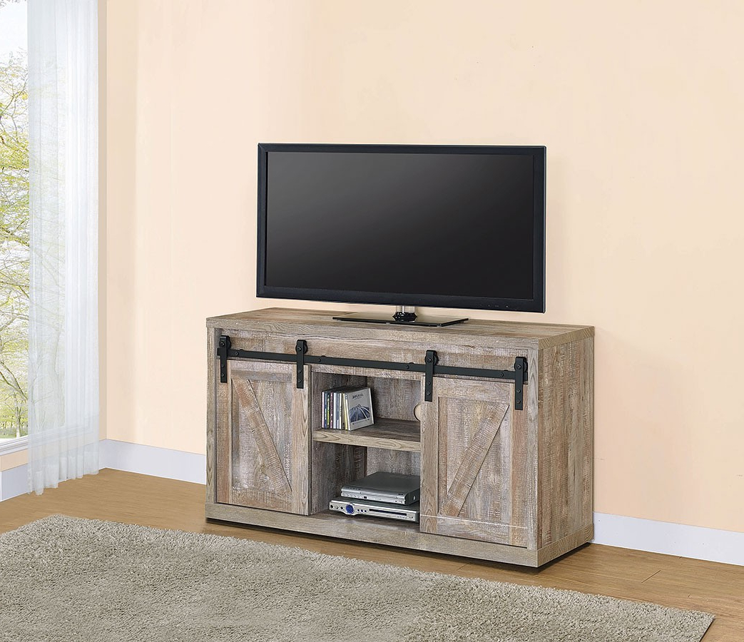 Weathered Oak 48 Inch Tv Console W/ Sliding Barn Doors For Robinson Rustic Farmhouse Sliding Barn Door Corner Tv Stands (View 5 of 20)