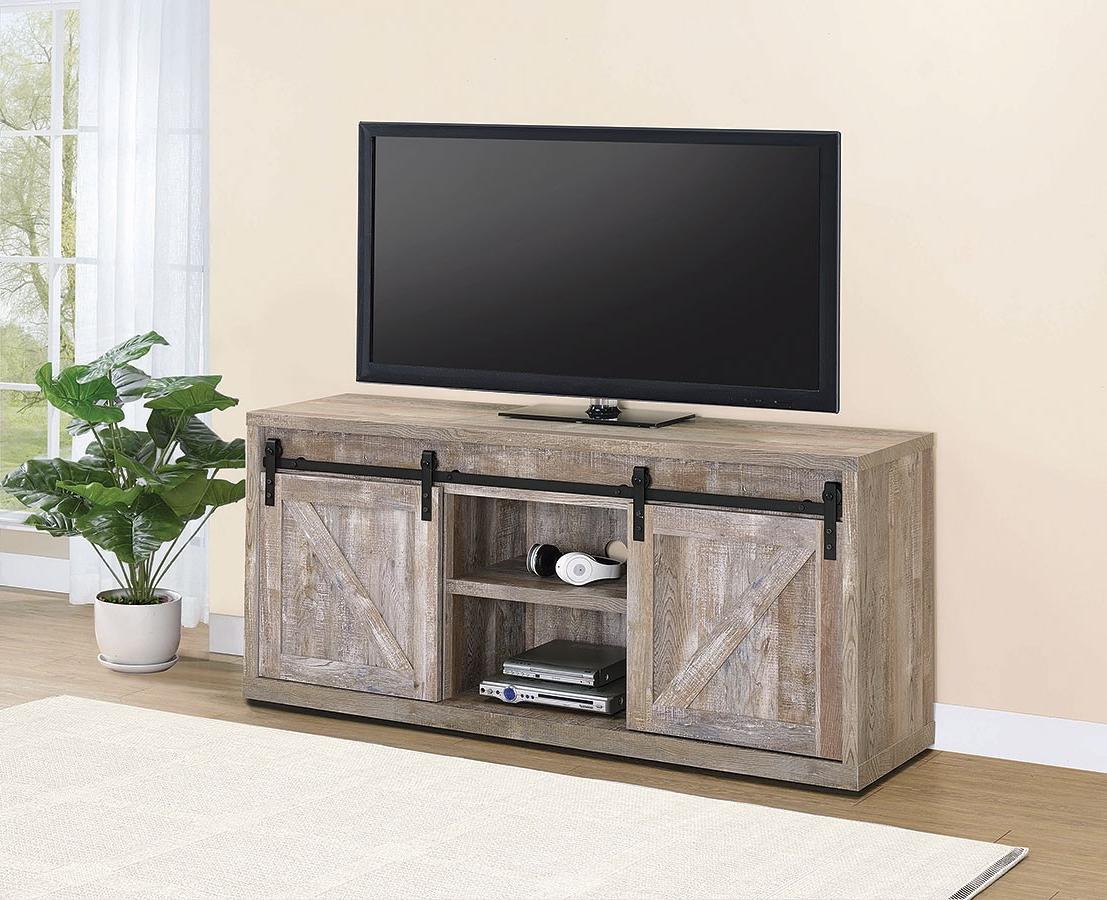 Weathered Oak 59 Inch Tv Console W/ Sliding Barn Doors In Tv Stands With Sliding Barn Door Console In Rustic Oak (View 1 of 20)