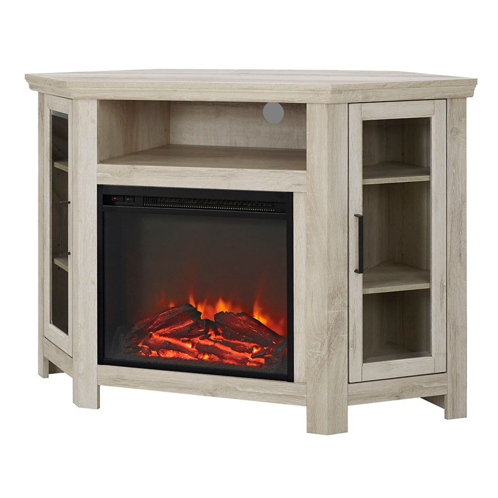 """Welwick Designs Tall Corner Fireplace Tv Stand For Tv's Up With Wood Corner Storage Console Tv Stands For Tvs Up To 55"""" White (View 10 of 20)"""
