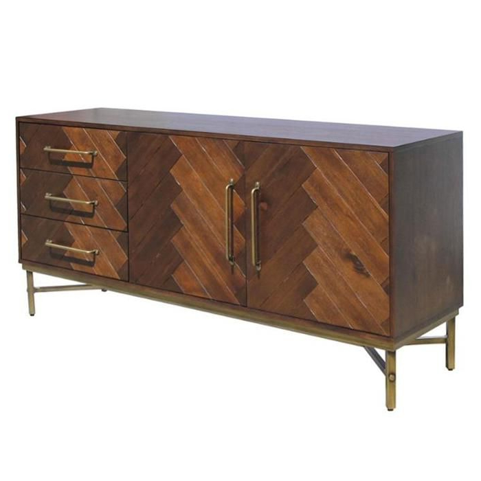 West End Sideboard In 2020 | Antique Brass Metal In Media Console Cabinet Tv Stands With Hidden Storage Herringbone Pattern Wood Metal (View 6 of 20)