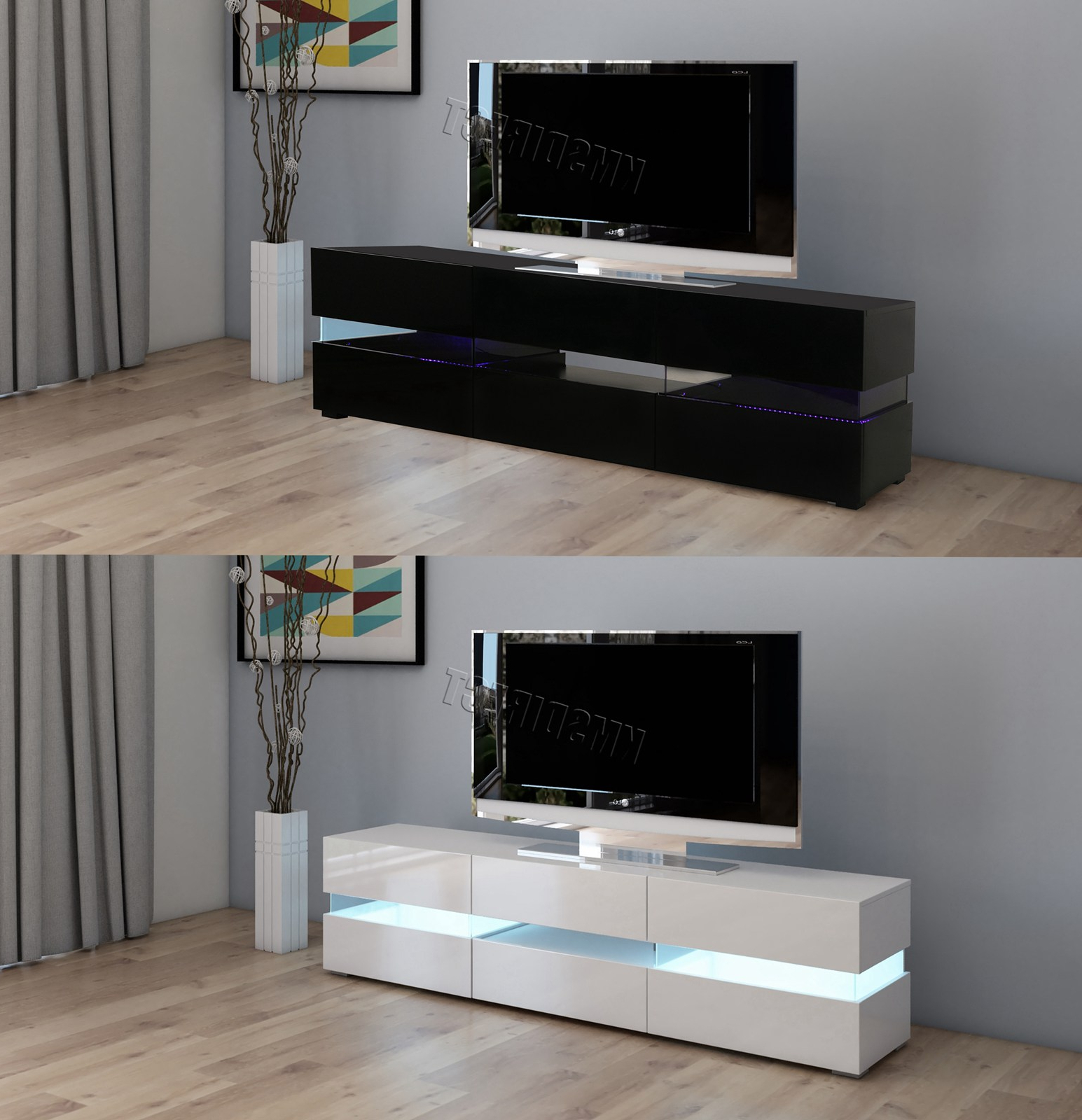 Westwood Modern Led Tv Unit Stand Cabinet – High Gloss Regarding Modern Black Tv Stands On Wheels (View 11 of 20)