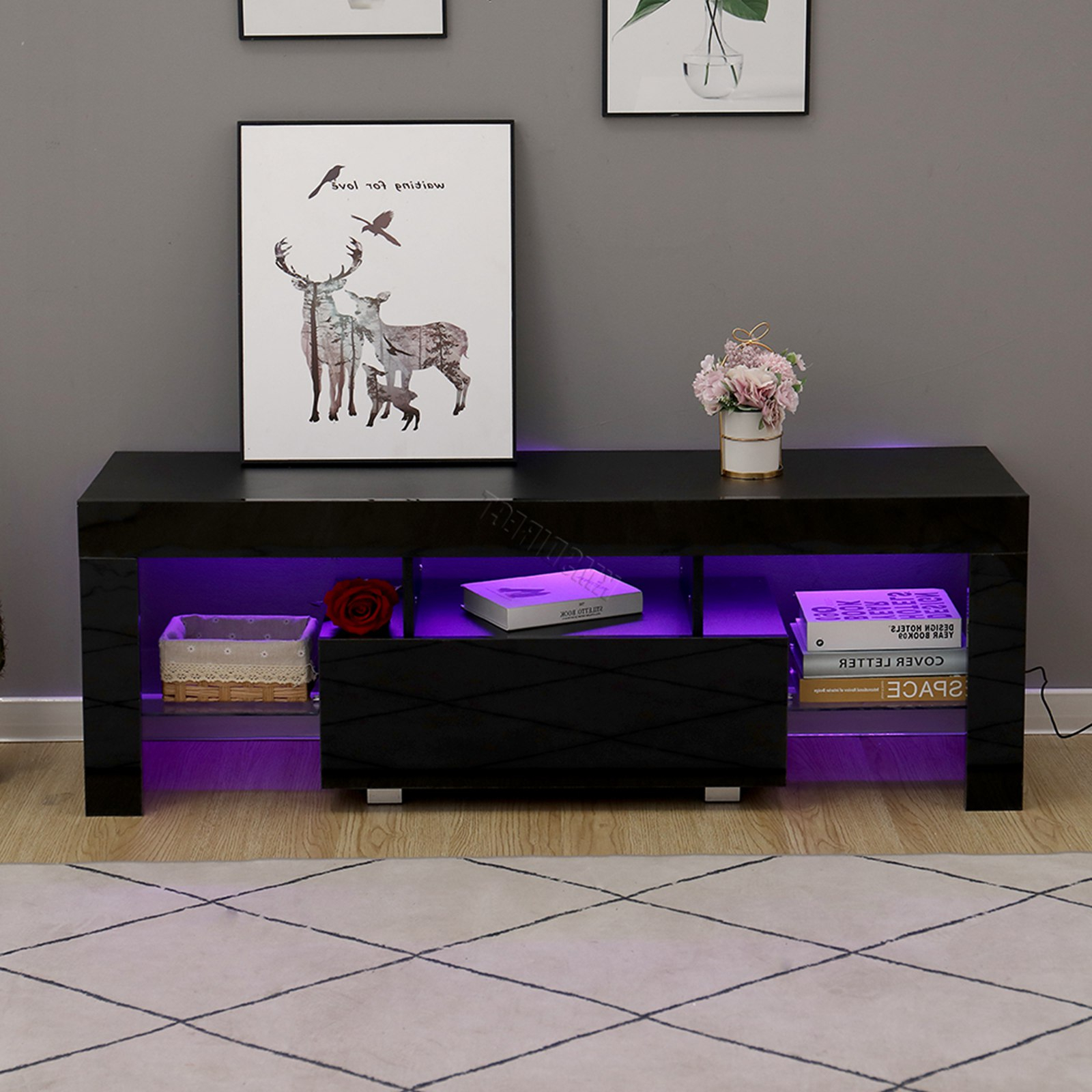 Westwood Morden High Gloss Matt 130cm Tv Cabinet Unit Inside Zimtown Tv Stands With High Gloss Led Lights (View 4 of 20)