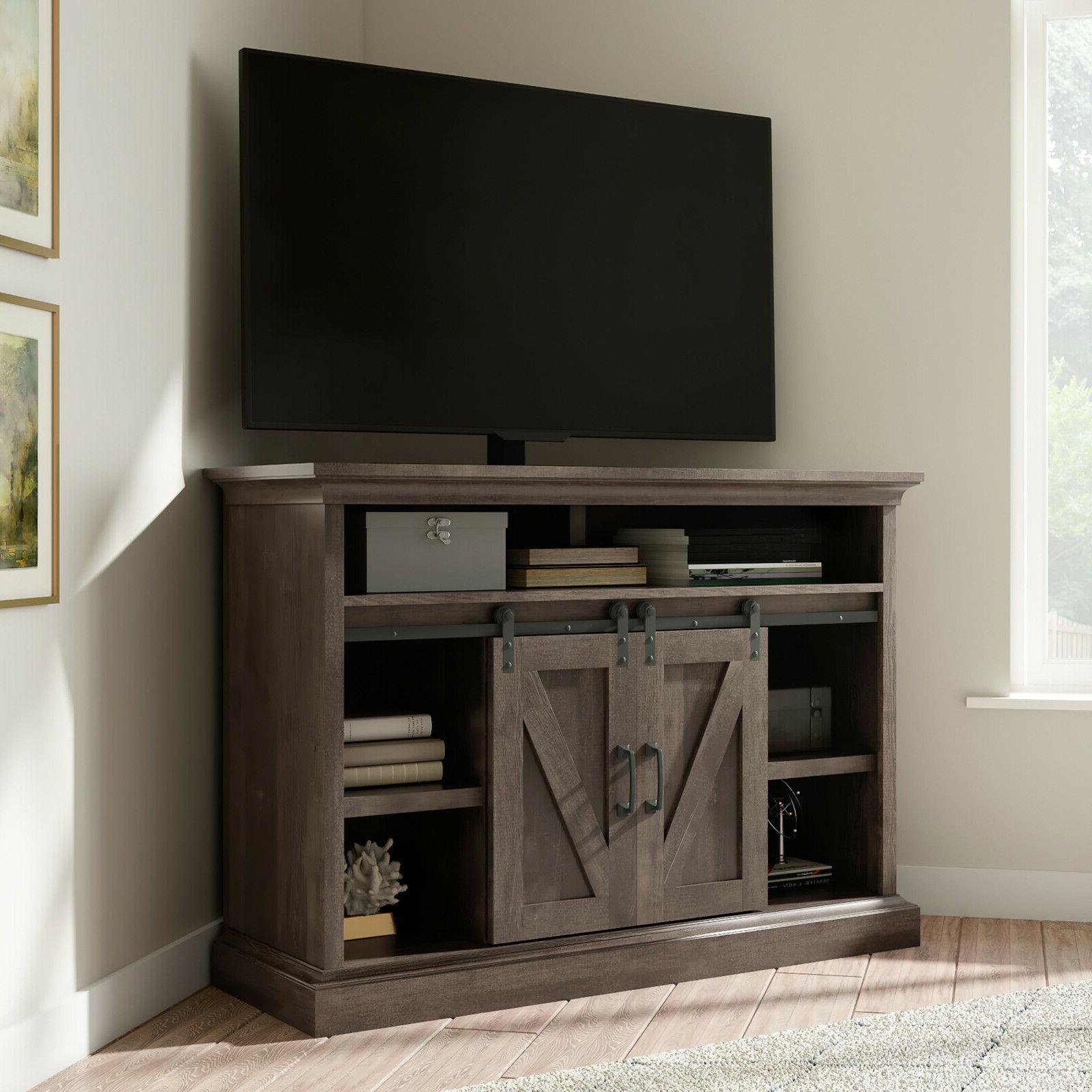 """Whalen Allston Barn Door Corner Tv Stand For 55"""" Tvs Within Barn Door Wood Tv Stands (View 12 of 20)"""