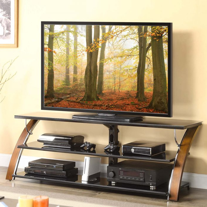 """Whalen Furniture – 75 Inch Tv Console Fits Most Tvs Up To Pertaining To Whalen Furniture Black Tv Stands For 65"""" Flat Panel Tvs With Tempered Glass Shelves (View 16 of 20)"""