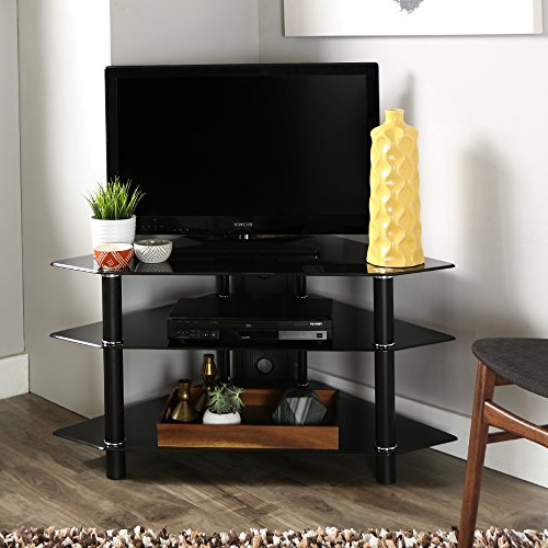 """Whalen Furniture Camarillo 3 In 1 Tv Stand, 50 Inch For Whalen Furniture Black Tv Stands For 65"""" Flat Panel Tvs With Tempered Glass Shelves (View 13 of 20)"""