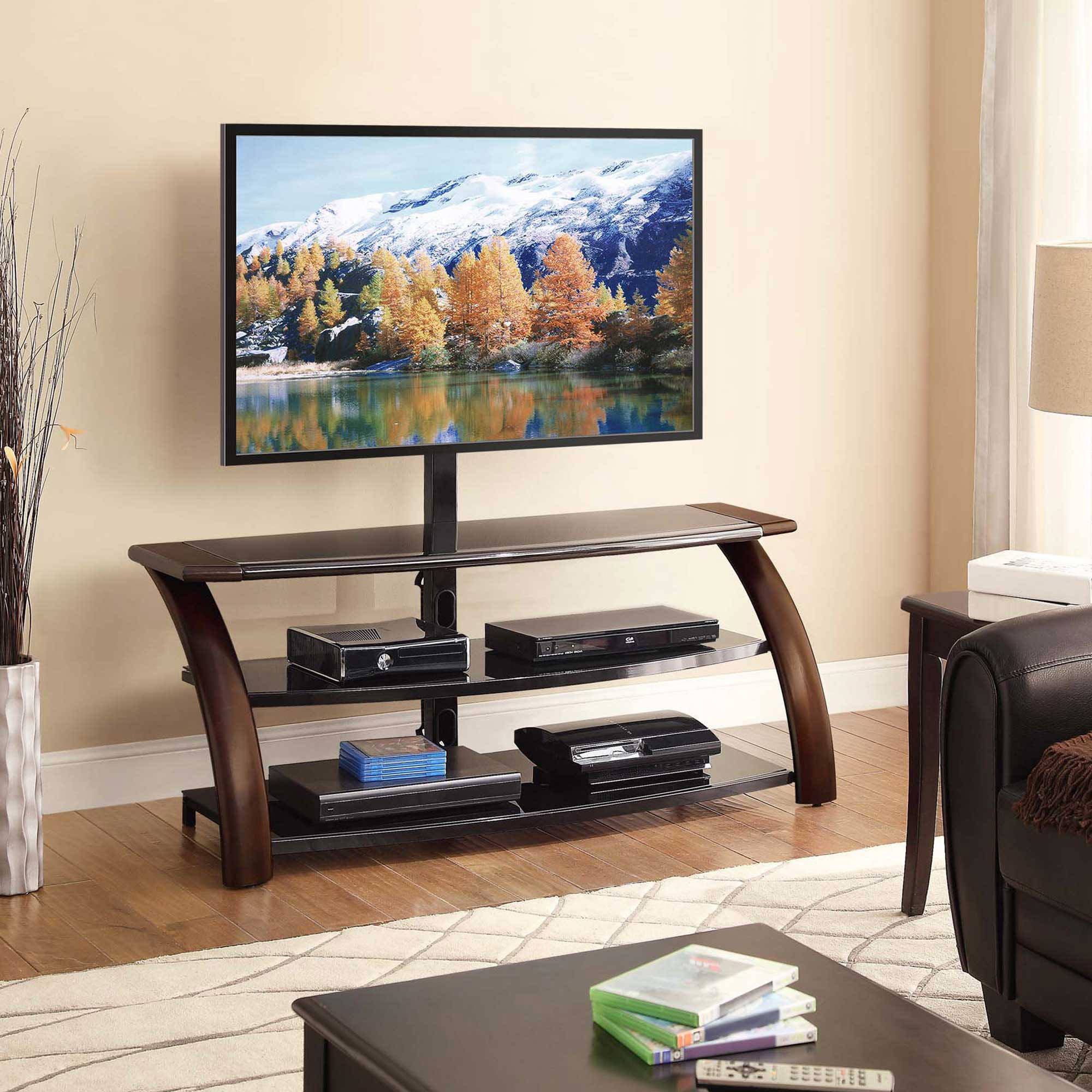 Whalen Payton 3 In 1 Flat Panel Tv Stand For Tvs Up To 65 For Tv Stands With Led Lights In Multiple Finishes (View 1 of 20)
