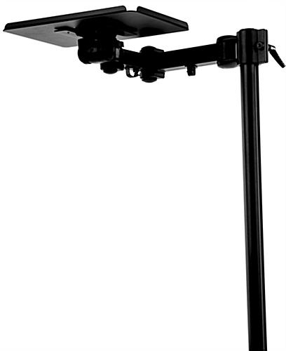 Wheeled Television Stands | Tilting Bracket With Modern Mobile Rolling Tv Stands With Metal Shelf Black Finish (View 11 of 20)
