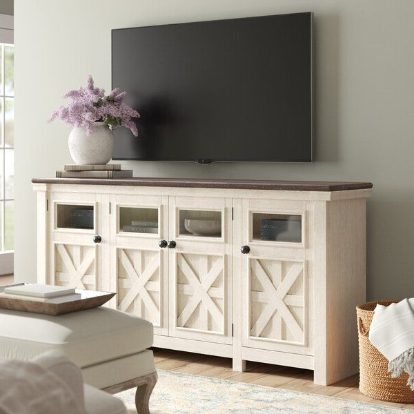 Whether Your Style Is Farmhouse Fresh, Shabby Elegance Or Regarding Woven Paths Farmhouse Barn Door Tv Stands In Multiple Finishes (View 16 of 20)