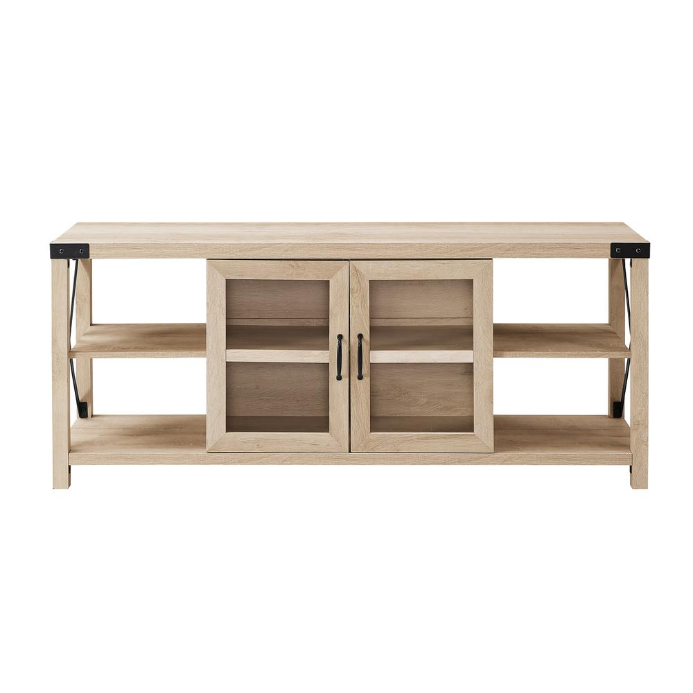 White Farmhouse Tv Stand 60 Inch : 60 Inch Rustic White Intended For Woven Paths Farmhouse Sliding Barn Door Tv Stands With Multiple Finishes (View 10 of 14)