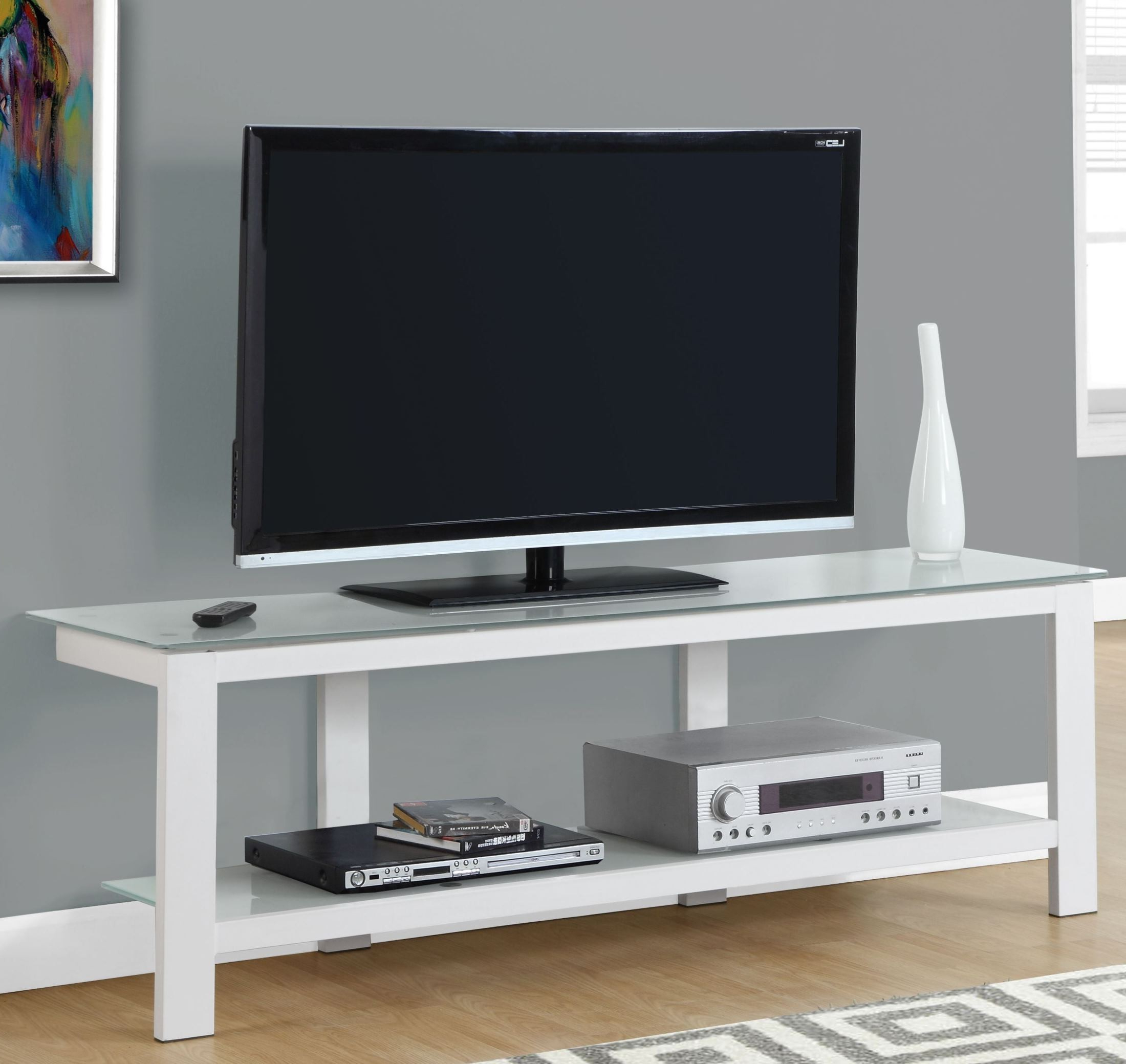 """White Frosted Tempered Glass 60"""" Tv Stand From Monarch Intended For Glass Shelves Tv Stands (View 10 of 20)"""