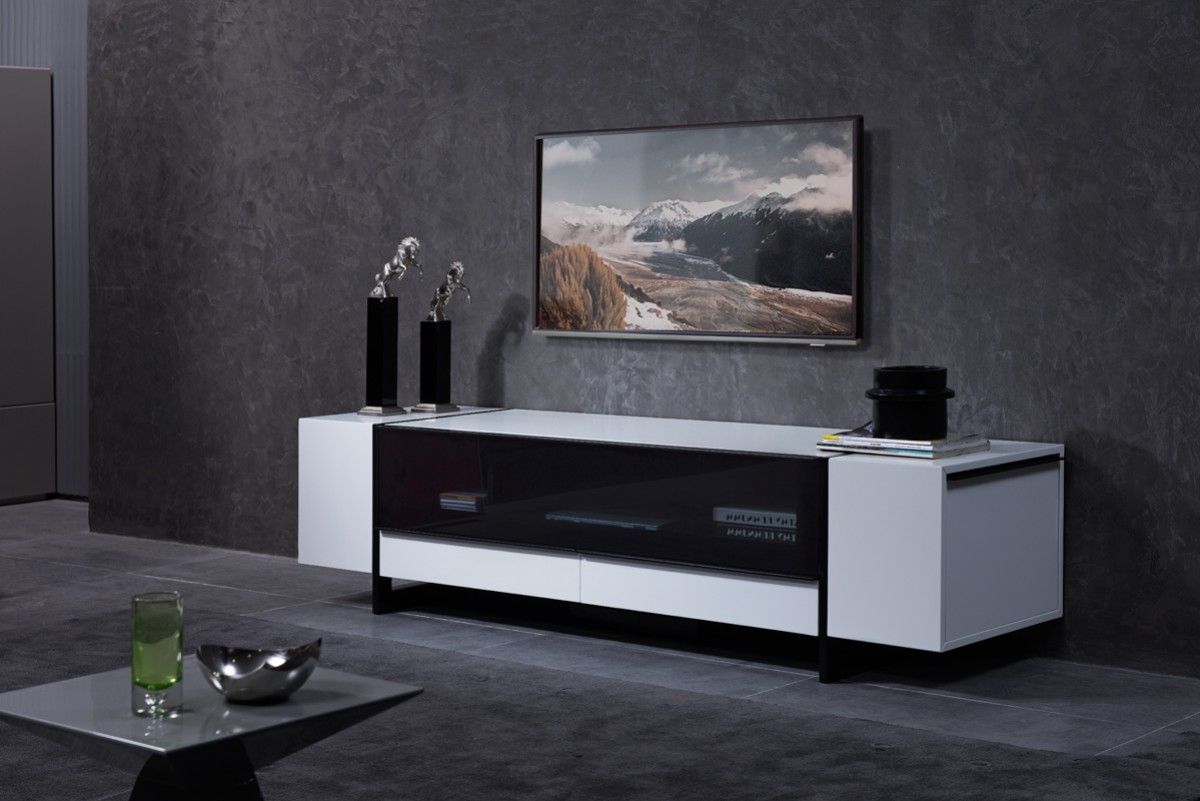 White Gloss Media Unit With Lots Of Storage Compartments With Hannu Tv Media Unit White Stands (View 13 of 20)